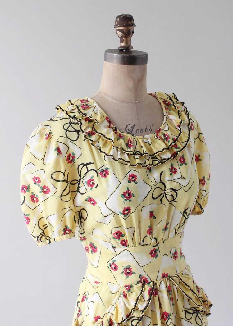 Vintage 1930s Yellow Novelty Print Cotton Dress - image 2