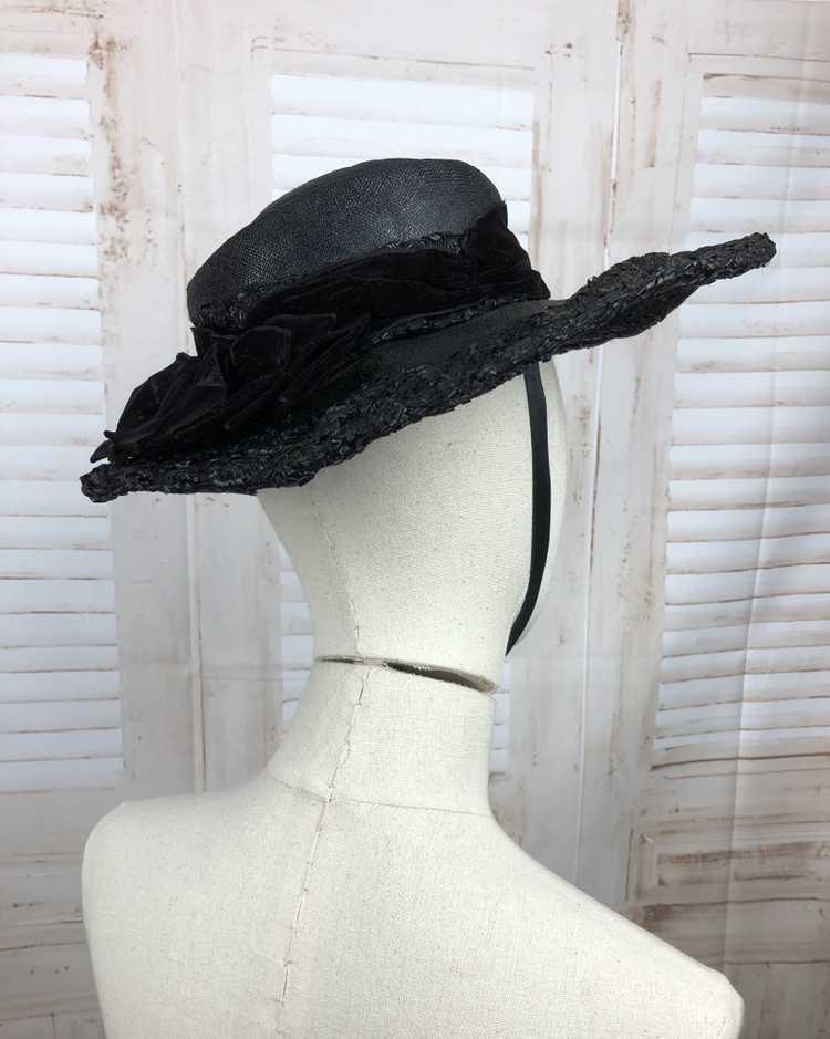 Original 1930s 30s Black Straw And Velvet Wide Br… - image 10