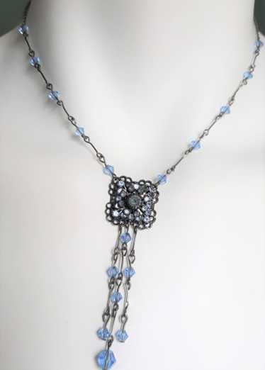 Blue and Antique Silvertone Dangle Necklace, Victo