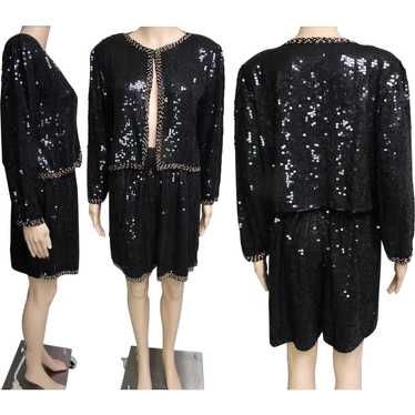 Vintage 1970s Sequin Shorts | Sequin Jacket | 70s