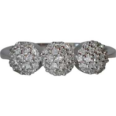 14K White Gold Pave Triple Puffed Ring