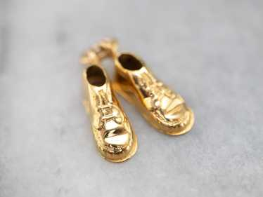 Vintage Gold Suede Shoes Charm