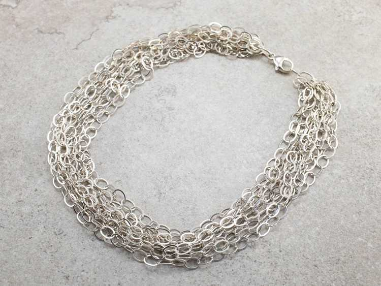 Multi Strand Sterling Silver Chain Necklace - image 2