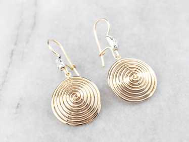 Diamond Gold Spiral Drop Earrings