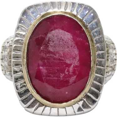 Sterling Silver Two Tone Ruby Ring - image 1