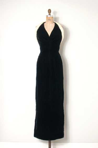 1950s Velvet and Mink Halter Gown | S