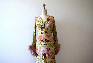 1930s silk gown . vintage 30s floral print dress