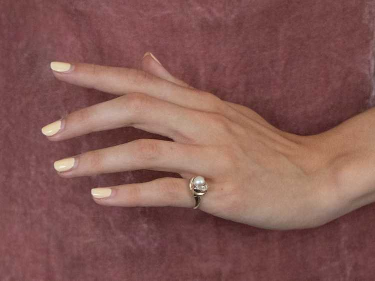 Vintage Pearl and Diamond Ring - image 10
