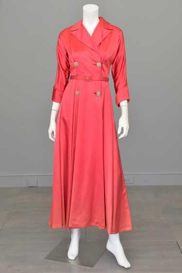 1940s Raspberry Pink Satin Wrap Front Dress House