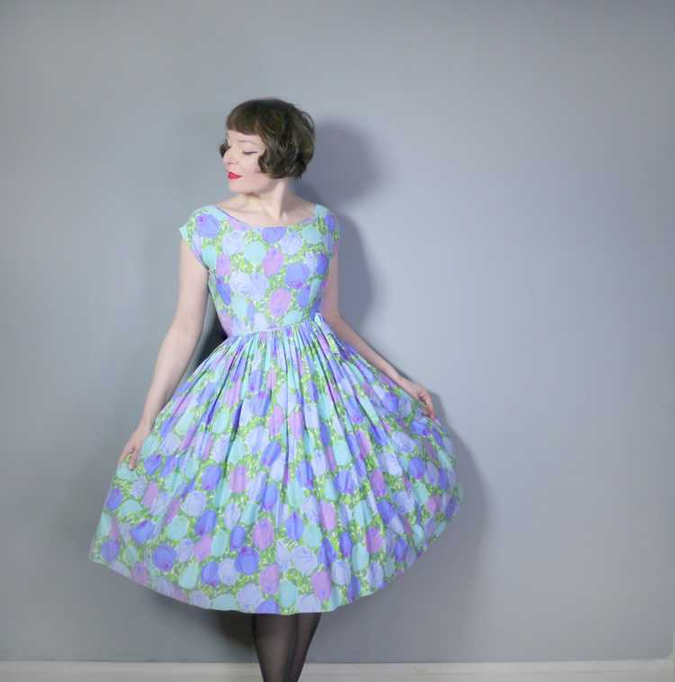50s FLORAL ROSE DRESS IN BLUE, GREEN AND LILAC CO… - image 4