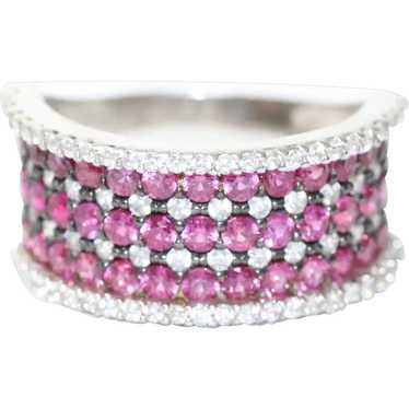 Sterling Silver Ruby Cubic Zirconia Ring - image 1
