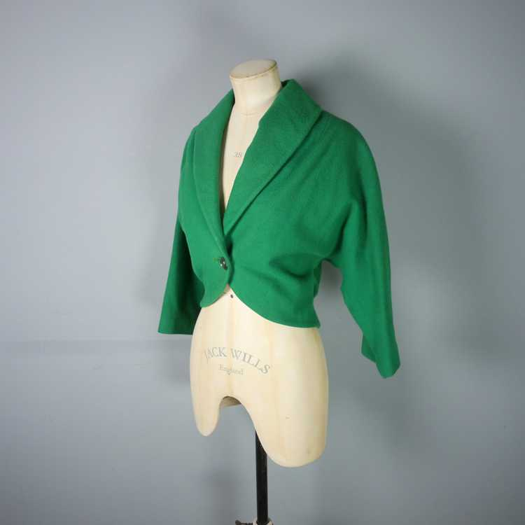 50s GREEN WOOL CROPPED BOLERO JACKET - M-L - image 7