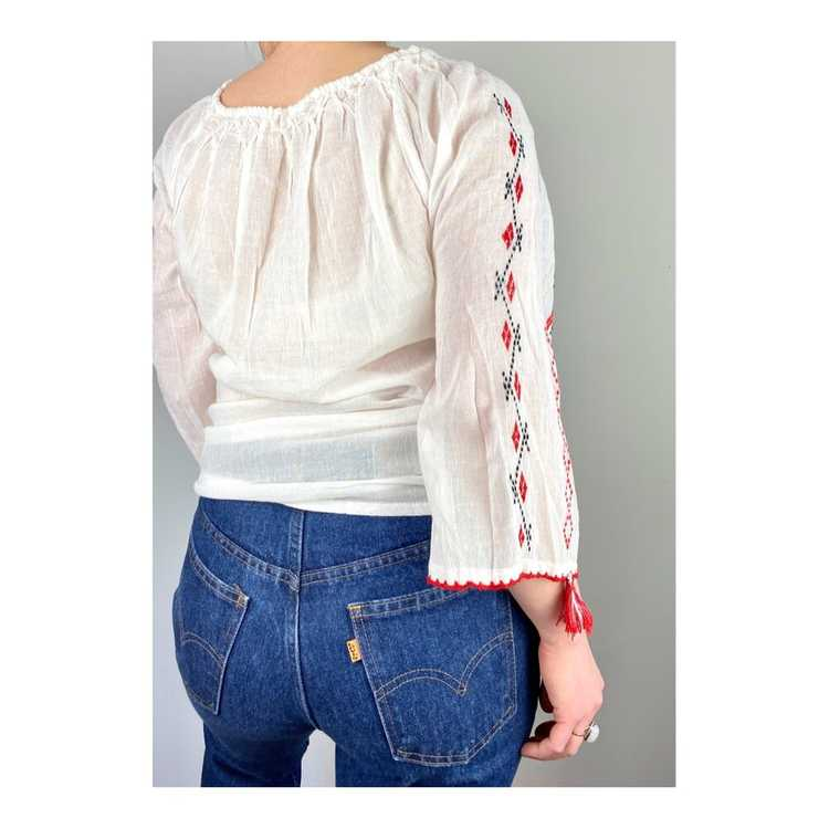 Hungarian Embroidered Vintage Blouse - image 8