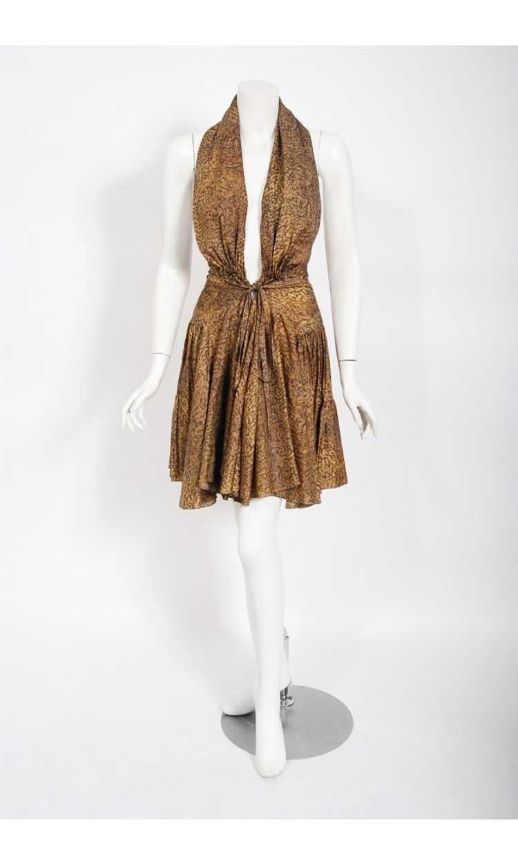 1987 Azzedine Alaia Documented Golden Print Silk … - image 3