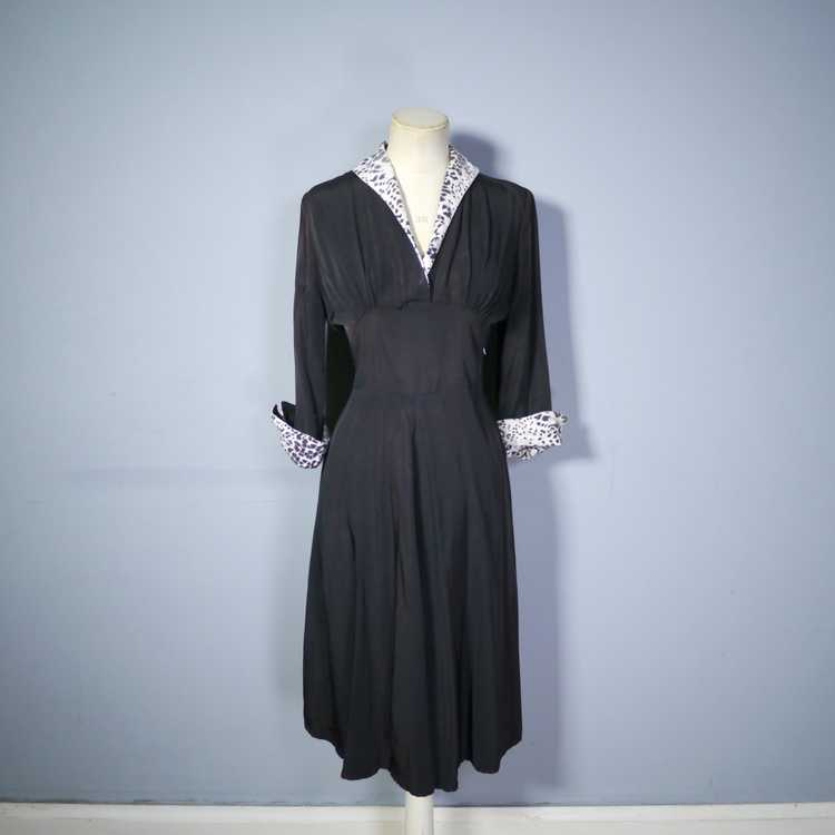 "40s 50s BLACK RAYON ""BICKLER"" DRESS WITH LEOPARD … - image 6"