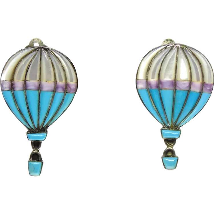 Hot Air Baloon Glass Leverback Earrings MOTHERS DAY SALE