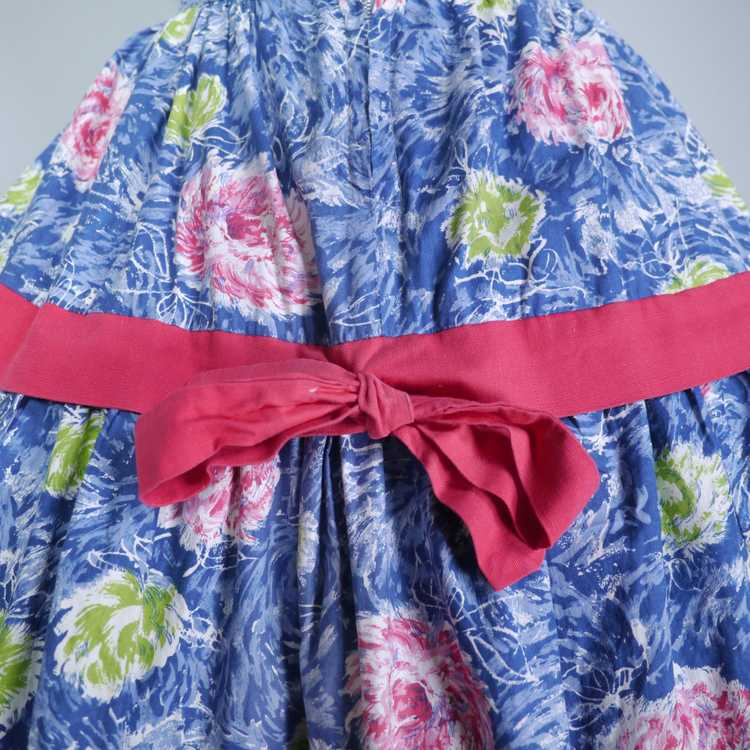 50s FEATHERY FLORAL BLUE COTTON DRESS WITH TIERED… - image 11