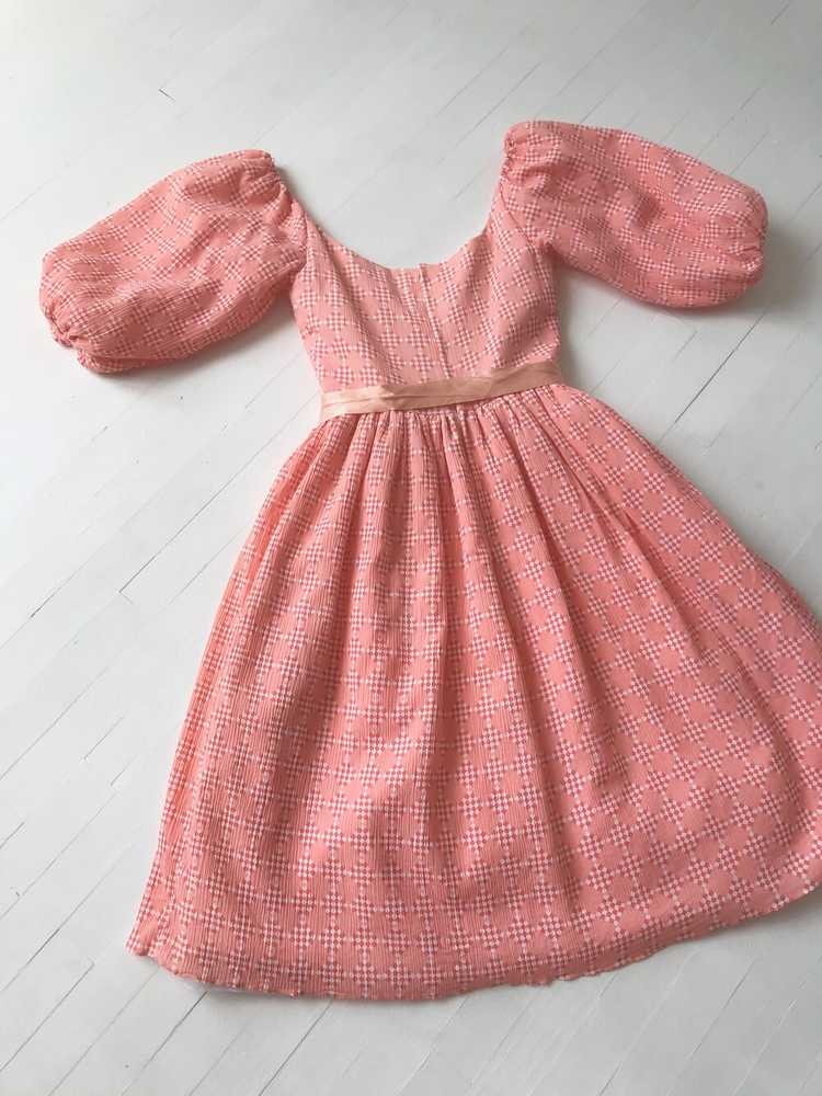 1980s Peach Diamond Print Dress with Balloon Slee… - image 6