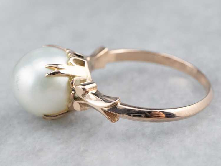 Pearl Rose Gold Solitaire Ring - image 4