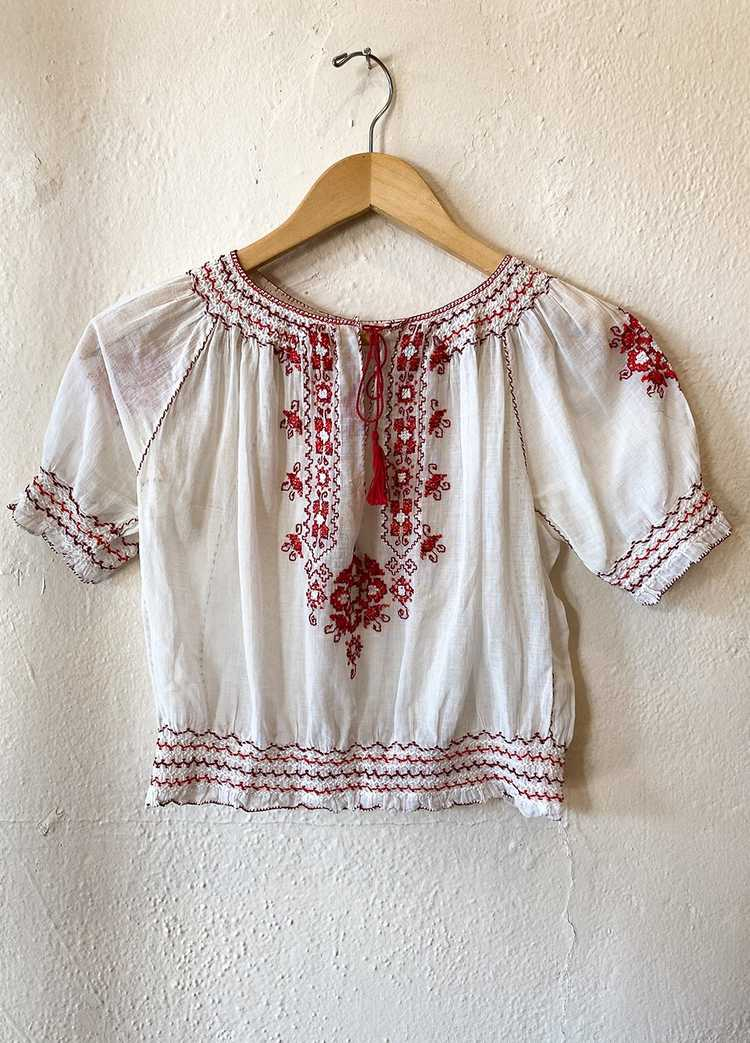 1930's Hungarian Embroidered Blouse - image 1