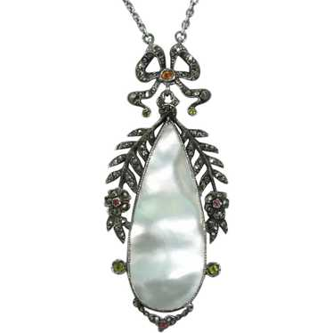 Antique French Silver Mother of Pearl Necklace Mar
