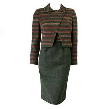 Hardy Amies Dress & Jacket Ensemble 1980's Wool Bo