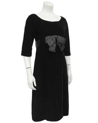 Mollie Parnis Black Velvet Dress with Bow