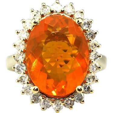 9CT Natural Mexican Fire Opal and Diamond Ring in