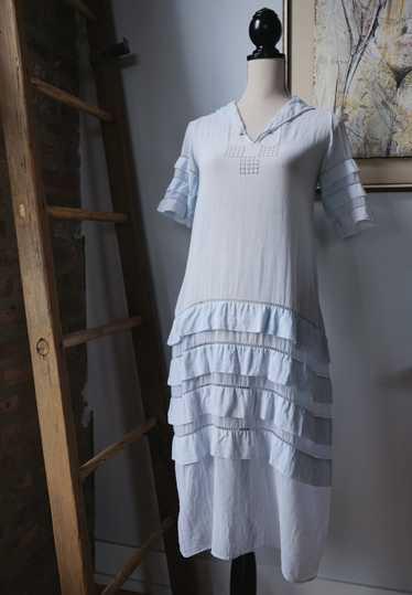 1920s Sheer Light Blue Cotton Voile Dress