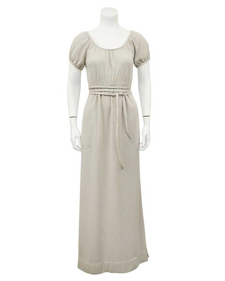 Bonnie Cashin Cream Wool Jersey Gown With Leather… - image 2