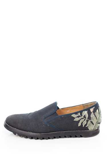 Ripple Sole Floral Canvas Slip Ons