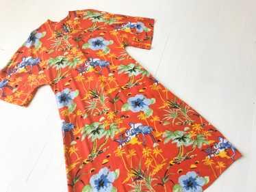 1970s Blood Orange Rayon Tropical Print Dress
