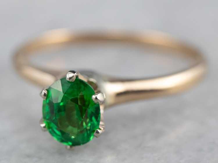 Tsavorite Garnet Gold Solitaire Ring - image 3