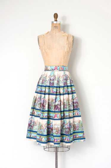 1950s Novelty Print Skirt | S
