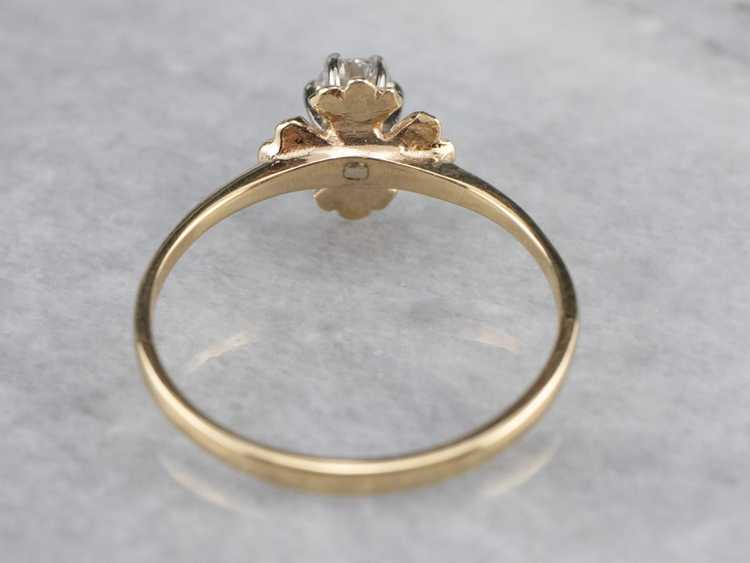 Floral Diamond and Gold Solitaire Ring - image 5