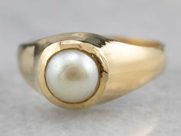 Bezel Set Pearl Gold Solitaire Ring - image 3