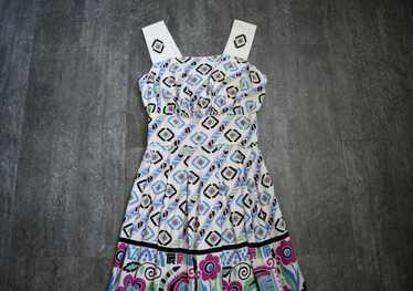 1940s sundress . vintage 40s geometric print dress