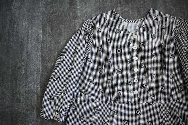Antique calico dress . vintage gingham dress - image 5