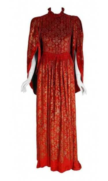 1920's Gallenga Couture Metallic Stenciled Red Vel