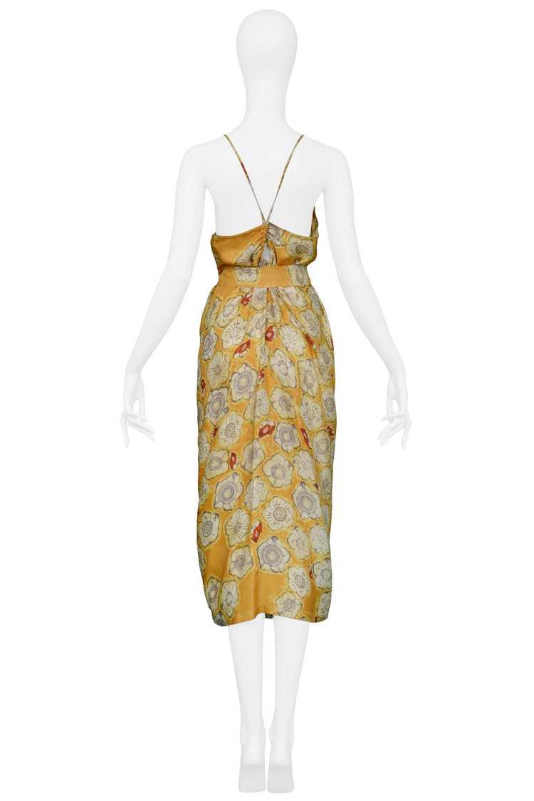 DRIES YELLOW GOLD FLORAL SLIP DRESS & SASH - image 2