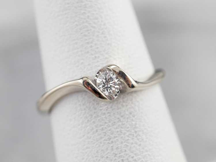 Diamond White Gold Solitaire Ring - image 7