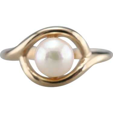 Vintage White Cultured Pearl Solitaire Ring