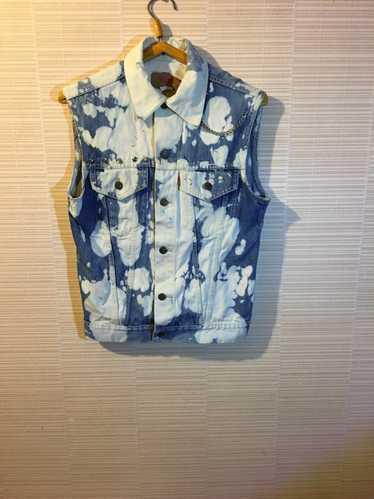 Denim vest Fringe Vest Jean vest Open back vest Bohemian  Size XS to small Pastel Tie dye vest