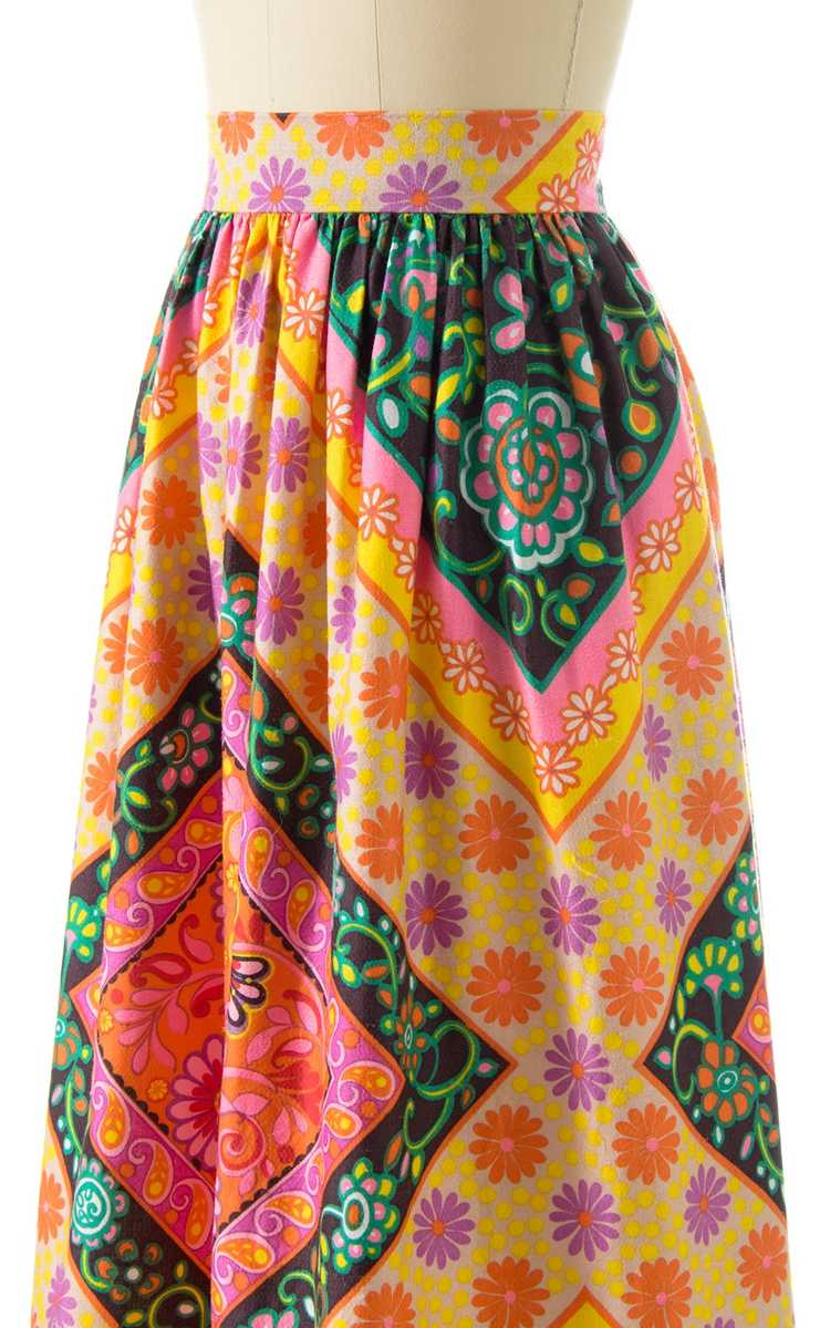NEW ARRIVAL || 1960s Floral Geometric Maxi Skirt … - image 5