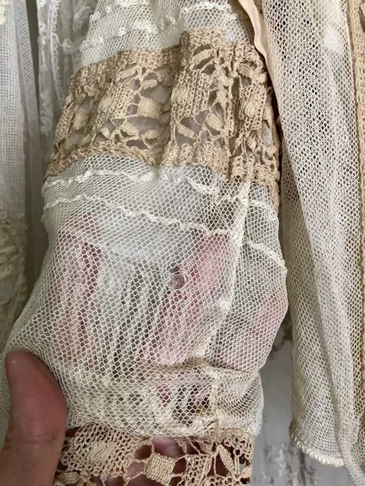 Antique 1890's Victorian Net Lace and Silk Bodice… - image 5
