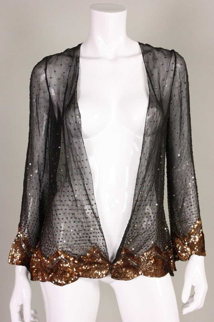 1930's Jacket Sequined Silk Chiffon Vintage - image 2
