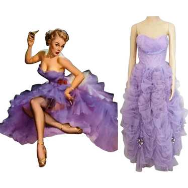 Vintage 1940s Gown // Lavender Gown// Strapless Go