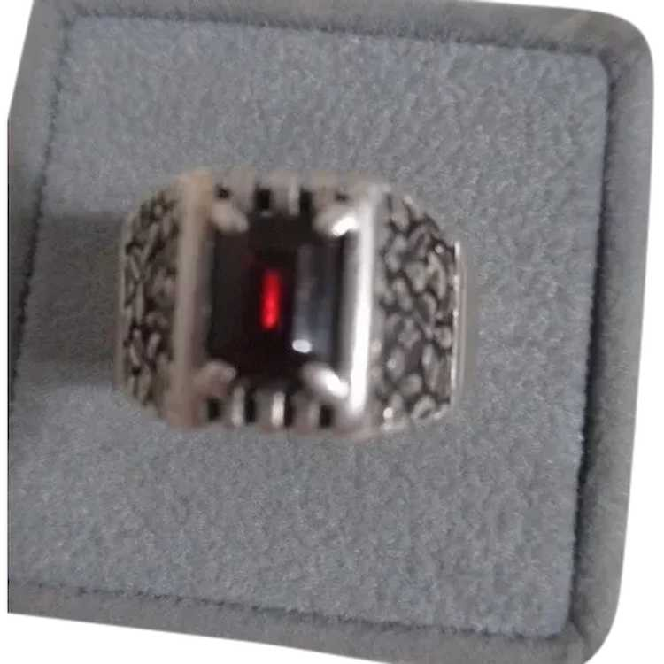 Sterling Silver Ring with Ruby - image 1