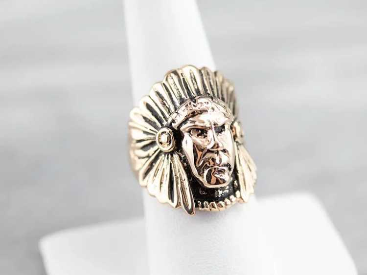 Native American Chief Statement Ring - image 9