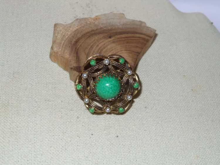 Vintage Faux Jade and Faux Pearl Brooch - image 5